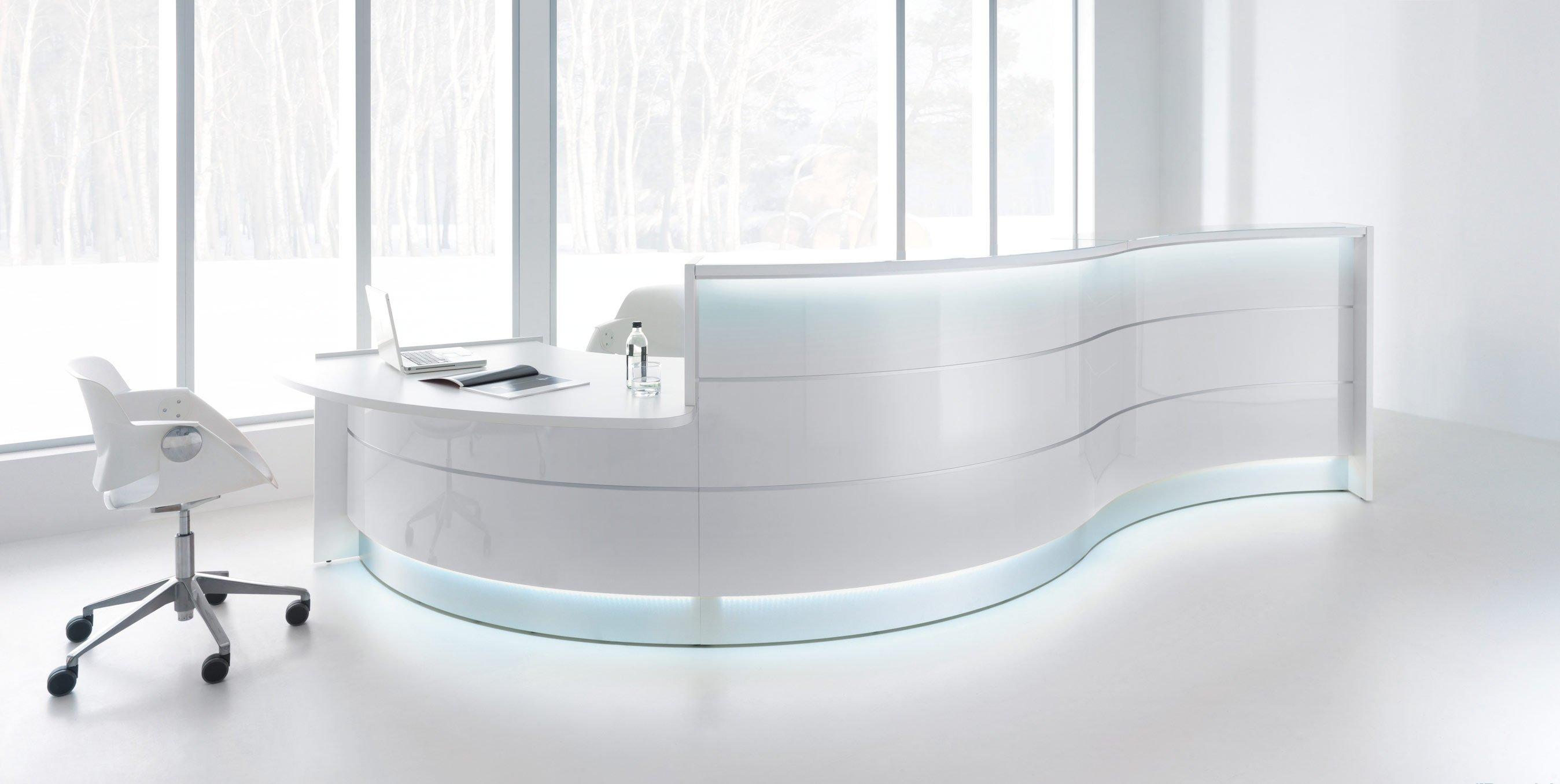 b ro empfangstheken mit hochglanzfront led beleuchtung deutschland schweiz sterreich. Black Bedroom Furniture Sets. Home Design Ideas